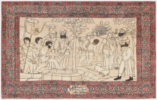 "Antique Persian Kerman Rug ""The Selling of Joseph"" 47148 Color Detail - By Nazmiyal"