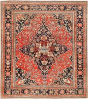 Antique Persian Mohtashem Kashan Carpet #47133 Color Detail - By Nazmiyal
