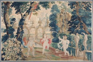 18th century flemish tapestry pastoral 47384 color Vintage Modernist Tapestry by Artist Leonardo Nierman 47513