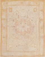 Antique Ivory Background Turkish Oushak Carpet 47443 Color Detail - By Nazmiyal