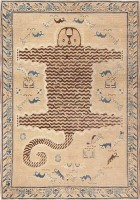 Antique Tiger Design Khotan Carpet 47184 Color Detail - By Nazmiyal
