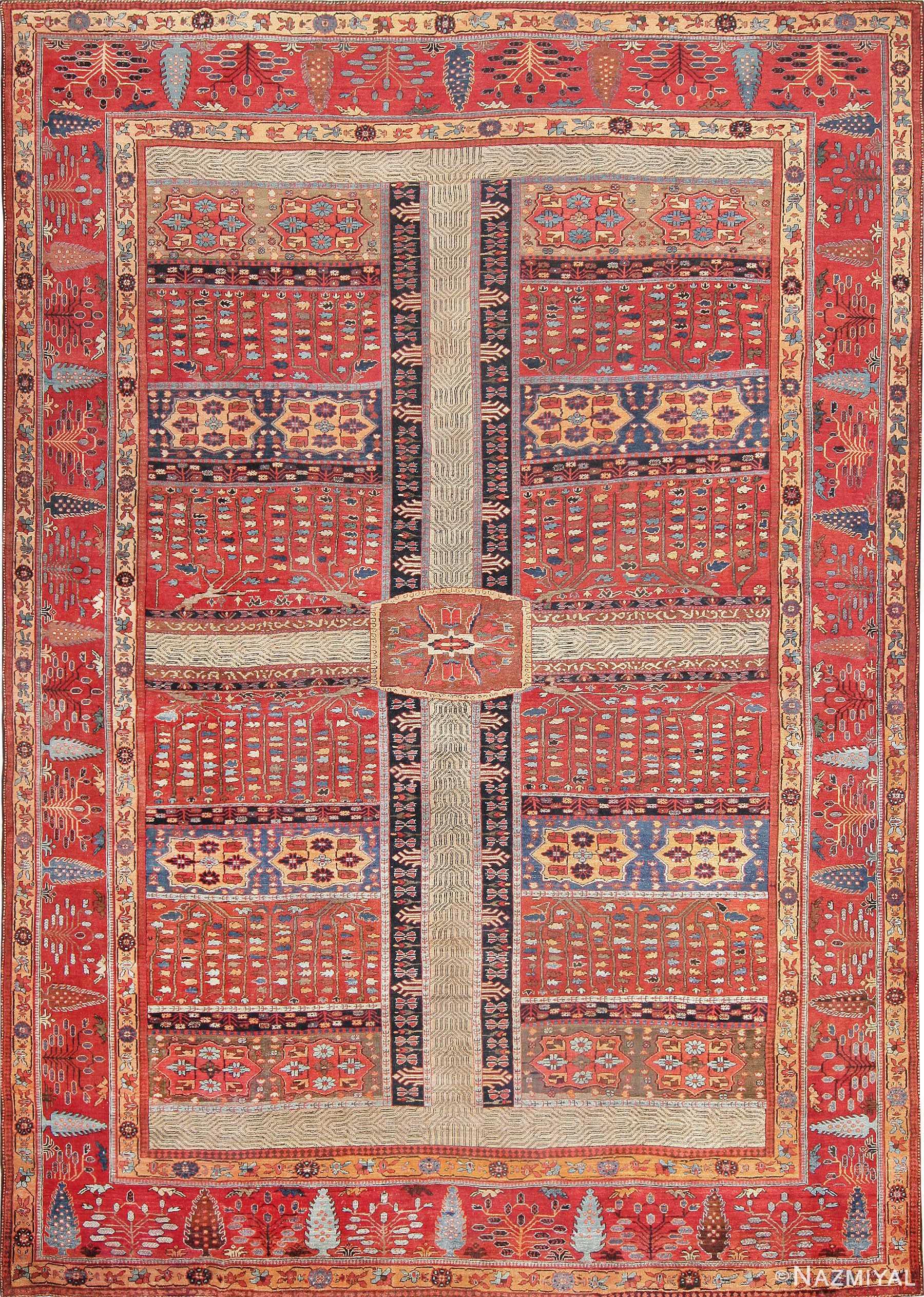 Large Antique Persian Bakshaish Carpet 47269 by Nazmiyal
