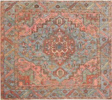Antique Square Heriz Serapi 47507 Color Detail - By Nazmiyal