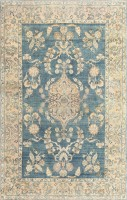 Beautiful Antique Light Blue Persian Kerman Rug 47311 Color Detail - By Nazmiyal