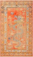 Antique Silk Dragon Khotan Rug from East Turkestan #48128 Color Detail - By Nazmiyal